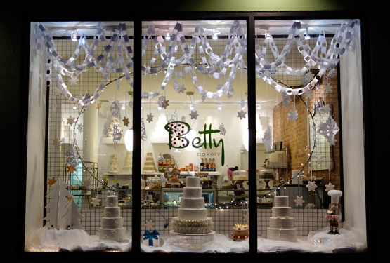 The window at Betty Bakery one recent December evening. Cookie heaven.