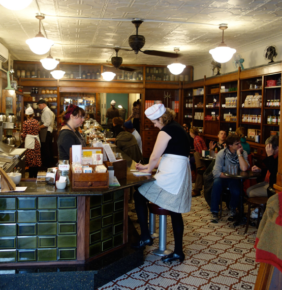 Brooklyn Farmacy, located in a former pharmacy/soda fountain that had been shuttered for decades, is a lovely throwback. It hits the right notes, with attention to detail, and use of authentic materials and techniques. This is not Disney, but a return to something real and evocative of old Brooklyn.