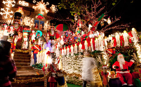 The lights in Dyker Heights. Say what you will, but the lights stop traffic and stop us in place too. Shorewalkers, a group dedicated to seeing the world at 3 miles per hour, is having a free meetup on Saturday at 5:30 to view the lights. This is a 4 mile walk, and they'll be eating dinner in the neighborhood afterwards. Check website for details.