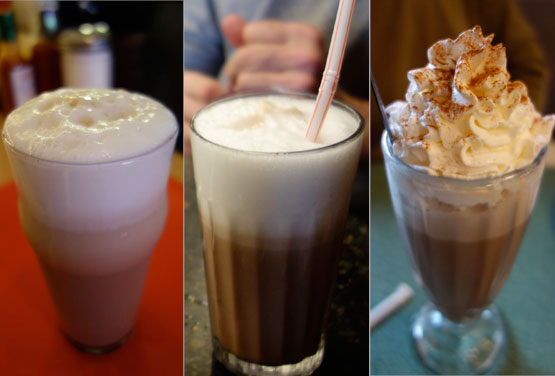 Egg creams, from left: Hinsch's, Brooklyn Farmacy, Tom's Restaurant