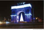The arch at Grand Army Plaza lighted for the holidays (Photo by Joseph Caserto. More: Who's Who)