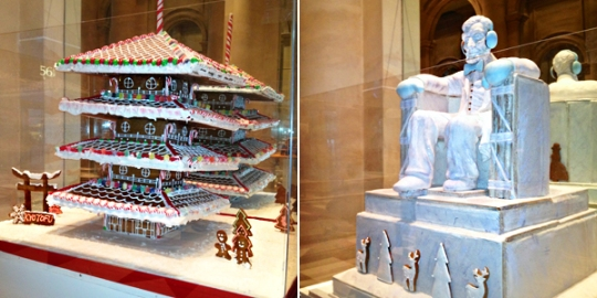 More from the Gingerbread Extravaganza: Toji Tower, created by Kyotofu, a Hell's KitchenJapanese dessert bar; The Lincoln Memorial, crafted by Baked Ideas, a custom baker.