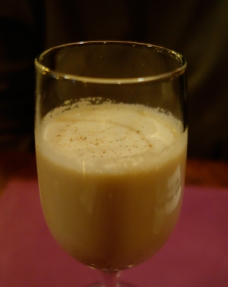 Sam's Serious Egg Nog: 3 kinds of rum, brandy and bourbon. Like the man says—serious.