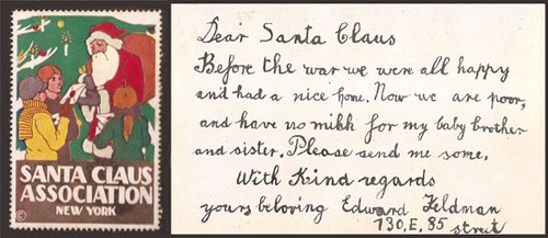 Our generousity. Photographs and ephemera from The Santa Claus Association, circa 1913, is on display at The City Reliquary.For 14 years, this NYC-based philanthropic group answered letters to Santa and distributed gifts to over 28,000 children. Williamsburg. Through February, 2013.