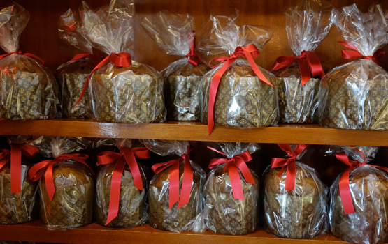 Rows of Milanese panettone at Settepani Bakery in Williamsburg.