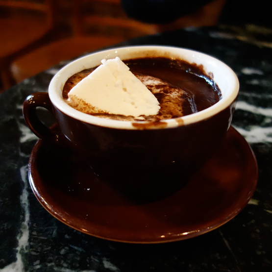 The spicy hot chocolate at The Chocolate Room.