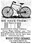 Wright Cycle Exchange Ad
