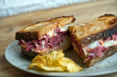 The Reuben is one of over ten typical sandwiches offered daily at Court Street Grocers.