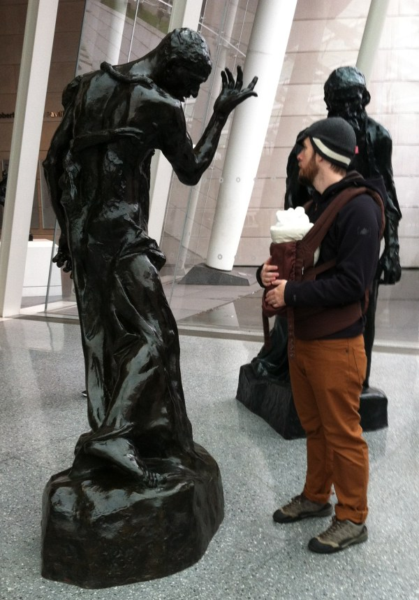 Brooklyn Museum courtyard: Brooklyn chest-pack Dad confronts Rodin statued