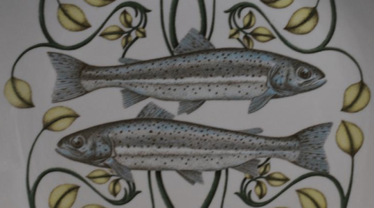 Detail of plate from a Villeroy & Boch 7-piece fish set on eBay (# 230907702410); best hurry, there's only one set.