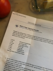Step Two: The Recipe: The print-out from the FB page is beautifully formatted, easy to follow.