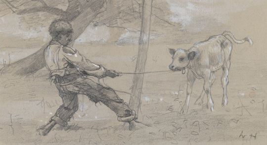 Winslow Homer, The Unruly Calf, circa 1875. Graphite and white opaque watercolor on blue-gray wove paper. Brooklyn Museum, part of Fine Lines: American Drawings. See below.