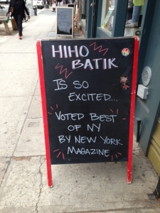 Seen at 184 Fifth Avenue in Park Slope, HiHo Batik sharing its news from a recent issue of New York Magazine. This is a batik shop with a DIY spin.