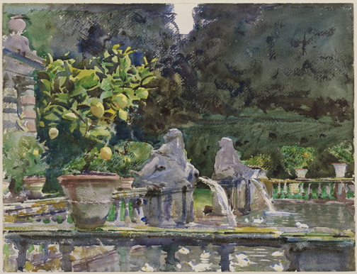 John Singer Sargent, Villa di Marlia, Lucca: A Fountain, 1910. Watercolor over graphite pencil on paper. The Hayden Collection—Charles Henry Hayden Fund. At Brooklyn Museum, now.