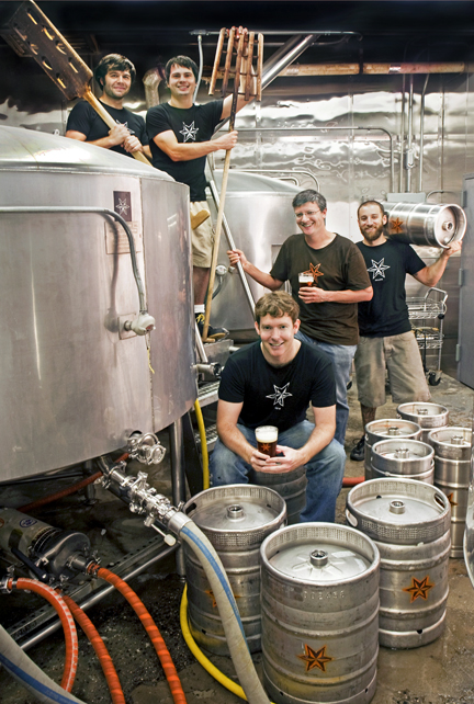 """We knew Brooklyn would grasp what we were doing with beer,"" says Shane Welch, front, with his Sixpoint Brewery crew. ""And the mineral profile of the water here is virtually perfect for brewing."" Photograph © 2013 by Randy Duchaine"