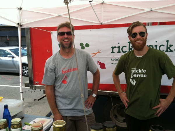 Rick's Picks' artisanal pickle vendors sport shirts that don't permit taking themselves too seriously.