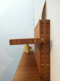 Founder/owner Mark Righter crafted sliding shelves that don't tip, thanks to the sliding dovetail joint.