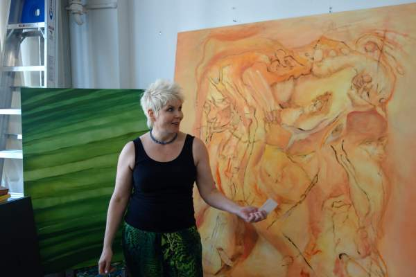 Judith Mills talks about her Stuckist painting on Open Studio day, Sunset Park (Brooklyn Artisan Photo Pool)