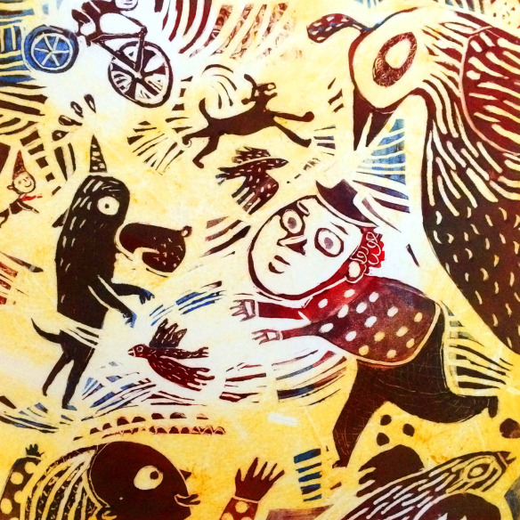 Nancy Doniger 'The Chase' monotype with Akua inks on Masa Paper